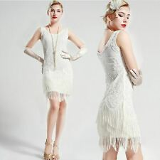 US STOCK Gatsby vintage unique Beaded 1920s Flapper Dress White Wedding