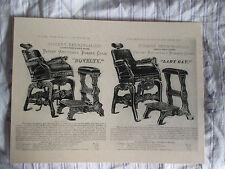 1880's Vintage Walnut Berninghaus Adjustable Barber Chair & Stool Sign Ad Price