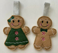 Felt Gingerbread Couple w/Glitter Green Dress, green bow/red white buttons
