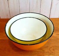 Vintage Enamelware Orange Yellow Black Rim Dishes Lot of 2 Small Decor Bowls