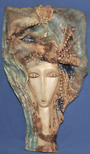 VINTAGE HAND MADE CERAMIC WALL HANGING ART WORK SCULPTURE ABSTRACT WOMAN HEAD