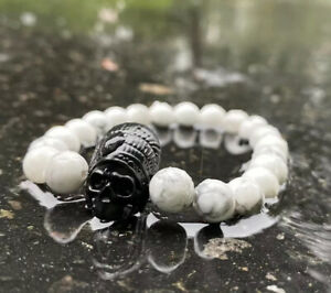 White Howlite Beaded Bracelets 8 MM With Black Skull Bead Charm - Free Shipping