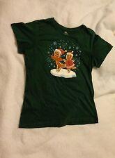 Women's Green Christmas Gingerbread Ice Skating Large Medium Short Sleeve Shirt