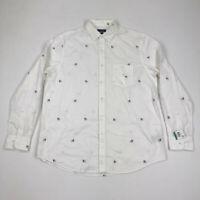 Club Room Mens Button Shirt Long Sleeve Bulldog Print White Variety Sizes