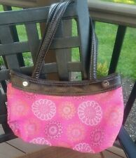 Thirty-One Pink Background Floral with Silver Highlights Purse Bag Snap Closure