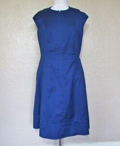 Akris Punto Dress Size 12 Women blue cotton blend cap sleeve