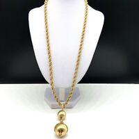 Vintage Designer Signed MONET Gold Tone Chain Filigree Ball Pendant Necklace