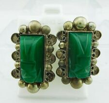 Vintage GENUINE Indian Face JADE on the GEMSTONES EARRINGS .925 Sterling Silver