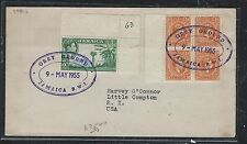 JAMAICA (PP2912B) 1953 KGVI  3D+1/2D BL OF 4 OVAL GREY GROUND CANCEL TO USA
