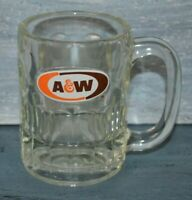"Vintage A&W Root Beer Mug Heavy Glass Small Thumbprint 4.5"" Rootbeer Soda"
