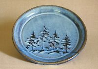 potterybydave -  Dinner Plate - Blue w Pine Trees - Hand-Thrown