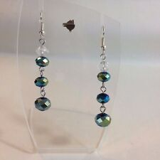 Metallic Green Blue Brown Rondelle Beads Crystal Bicone Bead Dangle Earring