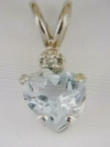 VINTAGE 14K WHITE  GOLD DIAMOND + AQUAMARINE PENDANT - MINT !
