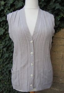 Ladies Vintage Light Grey Knitted Waistcoat With Pockets Size Medium