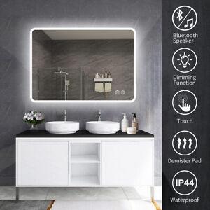 Illuminated LED Bathroom Mirror [IP44] with Bluetooth Speaker 800x600/1000x700mm