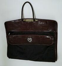Brighton Garment Bag Canvas & Leather Brown Black Luggage Trifold Travel