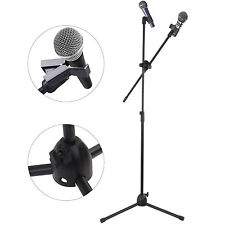 Professional Boom Microphone Mic Stand Holder Adjustable With Free Clips Black