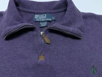 Mens Polo Ralph Lauren Quarter Zip Pullover Knit Sweater Shirt Purple Size Large