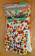 Ladies One Size Gardening Gloves  Extra Grip Rubberised Dots Flowers Brand New