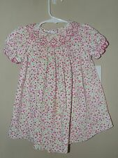 Vive La Fete 12M Smocked Bishop Dress Pink Floral Corduory Easter Spring Boutiqu