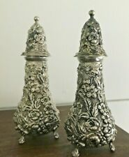 Antique Stieff Sterling Silver Repousse Shaker Set - 113g