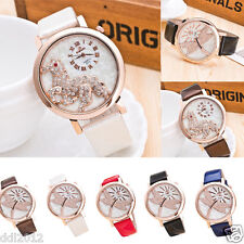Women Fashion Steed Dragonfly Rhinestone Leather Band Analog Quartz Wrist Watch