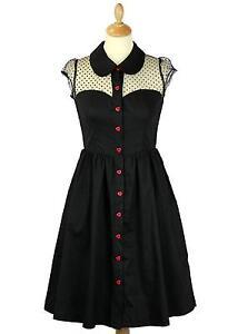 FRIDAY ON MY MIND VALENTINE BUTTON FRONT BLACK DRESS POLKA DOT MESH DETAIL
