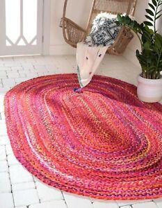 Rug 100% Natural Cotton Reversible Handmade Oval Rug Modern Red Carpet Area rug