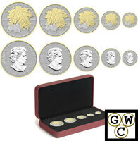2014 Fractional Set of 5 Silver Maple Leaf .9999 Silver Gold-Plated (13307)
