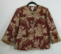 Chicos Womens Orange Long Sleeve Button Front Floral Lined Jacket Size 1