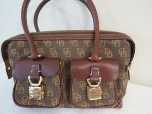 NEW Dooney & Bourke 1975 Brown Canvas & Leather Satchel Shoulder Bag 7x13