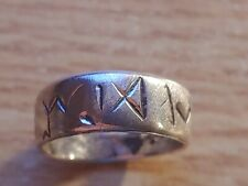 STERLING SILVER VIKING RUNE RING SIZE 9.5 Lots of  Elder Futhark Runes Handmade