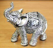Silver Etch Resin Medium Elephant Ornament Figurine Statue Lover Christmas Gift