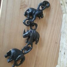 Vintage FOLK ART Hand Carved Animals CHAIN From 1 Piece of Wood Elephant Lion ..