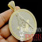 Big 3.25'' Round Medallion Free Mason Masonic G Compass Yellow Diamond Pendant