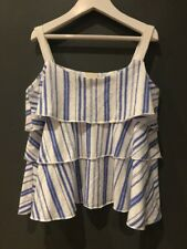 Zara blue and white striped layered tiered strappy vest girls top size 8 years