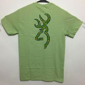 Browning Buckmark T-Shirt Peacock Logo Pattern Design Tee Color Pistachio Green
