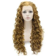 Long Curly Blonde Mix Heat Resistant Fiber Hair Lace Front Wig