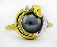 10k 6.5 mm Cultured Tahitian Pearl & Diamond Ring *FREE APPRAISAL - NWT