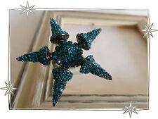 Magnifique Bague Fantaisie Gothique Etoile Pointes Strass Bleu  Nali Taille 55