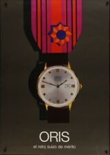 ORIS WATCH Vintage 1965 advertising Swiss poster 36x51 RARE Watches