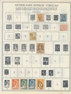 NETHERLAND ANTILLES–CURACAO: 124 Earliest Stamps to the 1960s on album pages