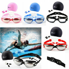 1 Set UV Anti-Fog Swimming Goggles Swim Caps Ear Plug Nose Clip Adult Men Women