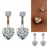 14G Surgical Steel Faceted Heart Cubic Zirconia Navel Ring Body Piercing Jewelry