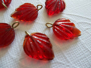 12 Ruby Red Glass Leaf Charms Beads Leaves with Brass Loops 15mm X 12mm