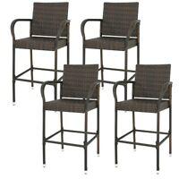 Set of 4 Indooor Outdoor Backyard Patio Wicker Barstool Patio Bar Stools Brown