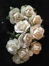 10 White Roses Mulberry Paper handmade rose flowers Wedding Anniversary favors