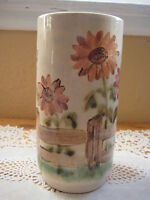 """BEAUTIFUL OLD VINTAGE HAND PAINTED POTTERY VASE, SIGNED BY AMY, 7"""" T & 3 1/2"""" D"""