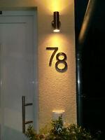 Hausnummer Edelstahl 150mm Schrifttyp ARIAL Fett Metall Masive Ausführung Led