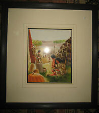 Native Americans Lenape Indians Orig. Illustration Painting For A Book Cover